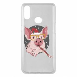 Чохол для Samsung A10s Portrait of the pink Pig in a red Santa's cap