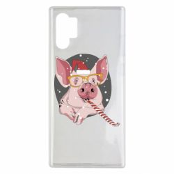 Чохол для Samsung Note 10 Plus Portrait of the pink Pig in a red Santa's cap