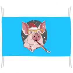 Прапор Portrait of the pink Pig in a red Santa's cap