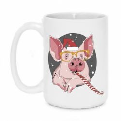 Кружка 420ml Portrait of the pink Pig in a red Santa's cap