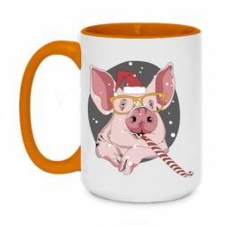 Кружка двоколірна 420ml Portrait of the pink Pig in a red Santa's cap