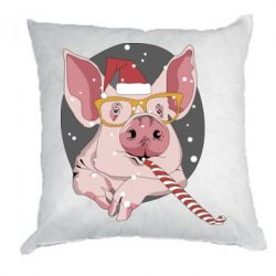 Подушка Portrait of the pink Pig in a red Santa's cap