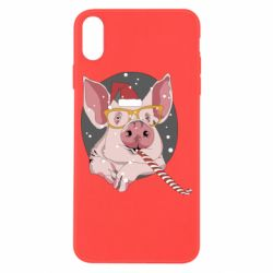 Чохол для iPhone X/Xs Portrait of the pink Pig in a red Santa's cap
