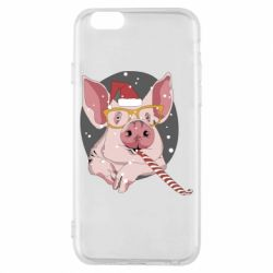 Чохол для iPhone 6/6S Portrait of the pink Pig in a red Santa's cap