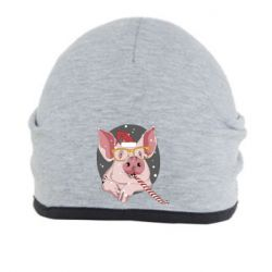 Шапка Portrait of the pink Pig in a red Santa's cap