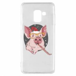 Чохол для Samsung A8 2018 Portrait of the pink Pig in a red Santa's cap