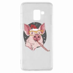 Чохол для Samsung A8+ 2018 Portrait of the pink Pig in a red Santa's cap