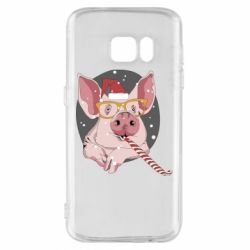 Чохол для Samsung S7 Portrait of the pink Pig in a red Santa's cap