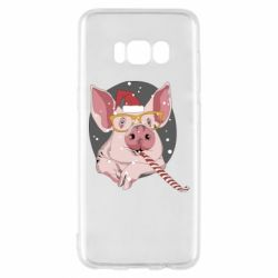 Чохол для Samsung S8 Portrait of the pink Pig in a red Santa's cap