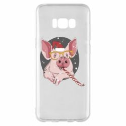 Чохол для Samsung S8+ Portrait of the pink Pig in a red Santa's cap