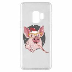 Чохол для Samsung S9 Portrait of the pink Pig in a red Santa's cap