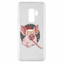 Чохол для Samsung S9+ Portrait of the pink Pig in a red Santa's cap