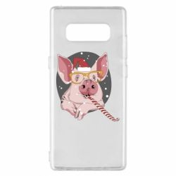 Чохол для Samsung Note 8 Portrait of the pink Pig in a red Santa's cap