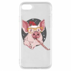 Чохол для iPhone 8 Portrait of the pink Pig in a red Santa's cap