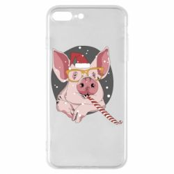 Чохол для iPhone 8 Plus Portrait of the pink Pig in a red Santa's cap