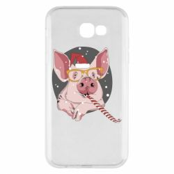 Чохол для Samsung A7 2017 Portrait of the pink Pig in a red Santa's cap