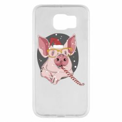 Чохол для Samsung S6 Portrait of the pink Pig in a red Santa's cap