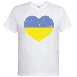 Мужская футболка  с V-образным вырезом Пошарпане серце - FatLine