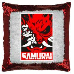 Подушка-хамелеон Poster samurai Cyberpunk
