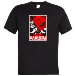 Чоловіча футболка з V-подібним вирізом Poster samurai Cyberpunk