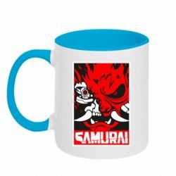 Кружка двоколірна 320ml Poster samurai Cyberpunk