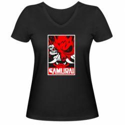 Жіноча футболка з V-подібним вирізом Poster samurai Cyberpunk