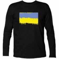 Футболка с длинным рукавом Потертый флаг Украины - FatLine