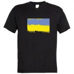Чоловіча футболка з V-подібним вирізом Потертий прапор України