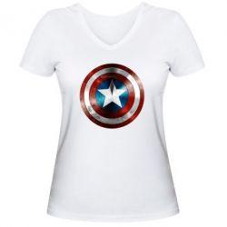 Женская футболка с V-образным вырезом Потертый щит - FatLine