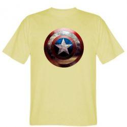 Мужская футболка Потрескавшийся щит Капитана Америка - FatLine