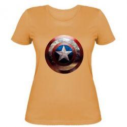 Женская футболка Потрескавшийся щит Капитана Америка