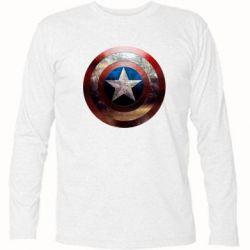 Футболка с длинным рукавом Потрескавшийся щит Капитана Америка - FatLine