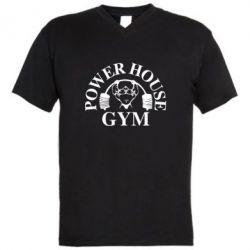Мужская футболка  с V-образным вырезом Power House Gym - FatLine