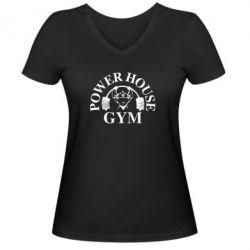 Женская футболка с V-образным вырезом Power House Gym - FatLine