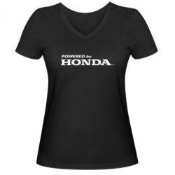 Женская футболка с V-образным вырезом Powered by HONDA - FatLine
