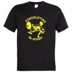 Мужская футболка  с V-образным вырезом Powerlifting be Stronger - FatLine