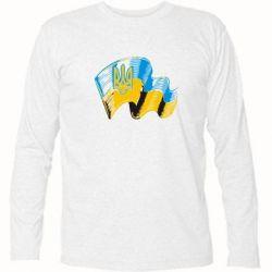 Футболка с длинным рукавом Прапор України з гербом - FatLine