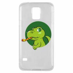 Чохол для Samsung S5 Святковий динозавр