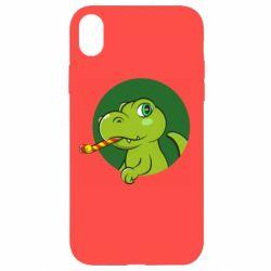 Чохол для iPhone XR Святковий динозавр