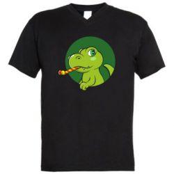 Чоловіча футболка з V-подібним вирізом Святковий динозавр
