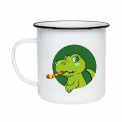 Кружка емальована Святковий динозавр