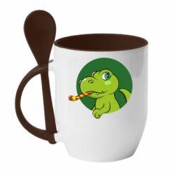 Кружка з керамічною ложкою Святковий динозавр