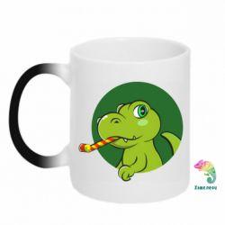 Кружка-хамелеон Святковий динозавр