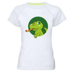 Жіноча спортивна футболка Святковий динозавр