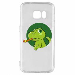 Чохол для Samsung S7 Святковий динозавр