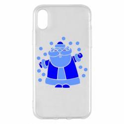 Чохол для iPhone X/Xs Прикольний дід мороз