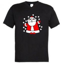 Мужская футболка  с V-образным вырезом Прикольный дед мороз - FatLine