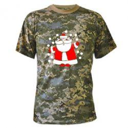 Камуфляжная футболка Прикольный дед мороз - FatLine