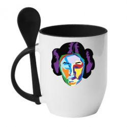 Кружка с керамической ложкой Princess Leia Colorful Art