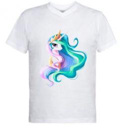Мужская футболка  с V-образным вырезом Принцесса Селестия